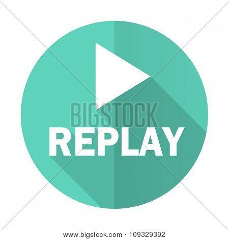 replay blue web flat design circle icon on white background