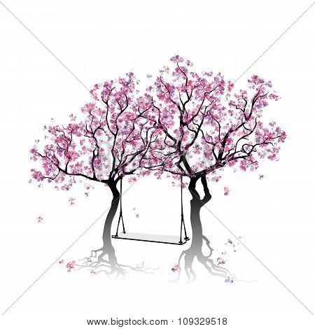 Swing between the trees. Springtime.