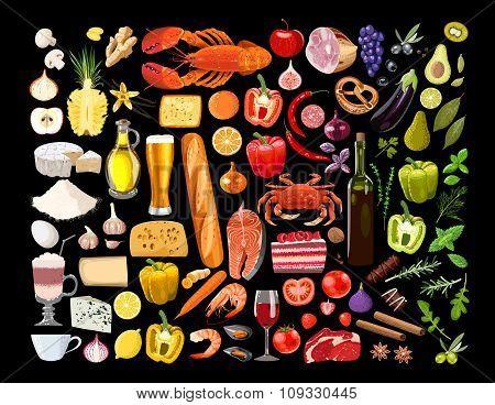 Big set of food