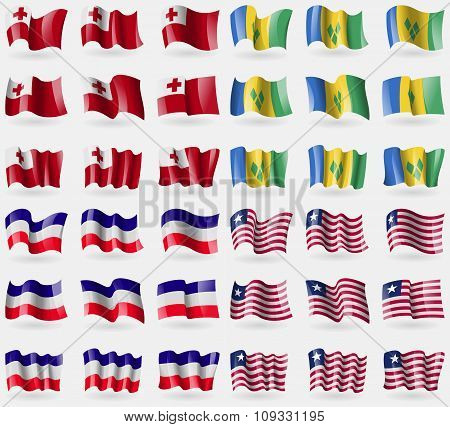 Tonga, Saint Vincent And Grenadines, Los Altos, Liberia. Set Of 36 Flags Of The Countries Of The