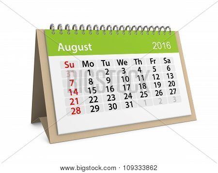 Monthly Calendar For August 2016. 3D Illustration