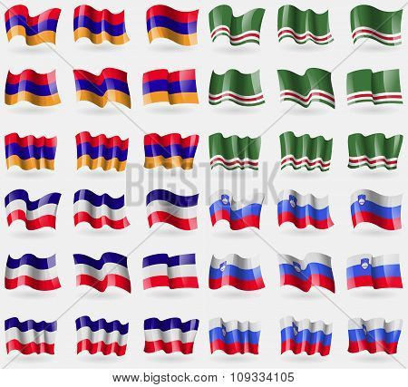 Armenia, Chechen Republic Of Ichkeria, Los Altos, Slovenia. Set Of 36 Flags Of The Countries Of