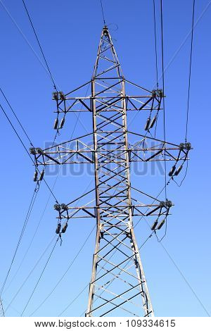 High-voltage power line on background of blue sky poster