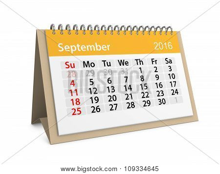 Monthly Calendar For September 2016. 3D Illustration