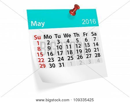 Monthly Calendar For May 2016. 3D Illustration