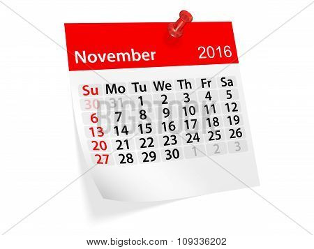 Monthly Calendar For November 2016. 3D Illustration
