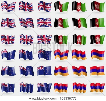 United Kingdom, Afghanistan, New Zeland, Armenia. Set Of 36 Flags Of The Countries Of