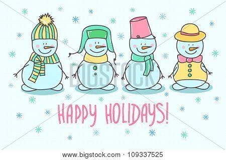 Vector Set Of Snowmen