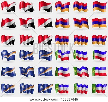 Sealand Principality, Armenia, Marshall Islands, Khakassia. Set Of 36 Flags Of The Countries Of