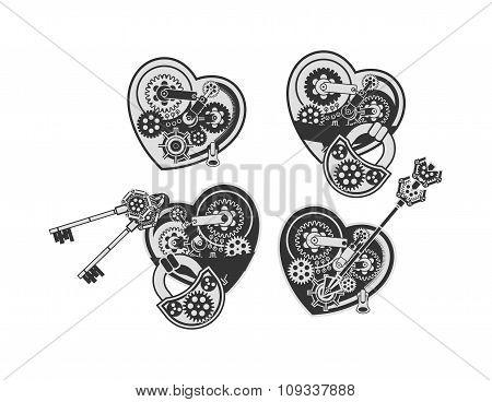 Set Of Mechanical Hearts