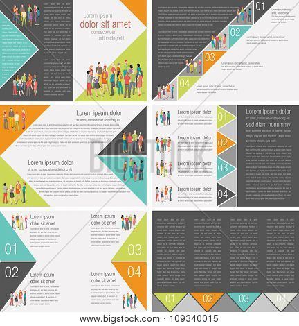 Colorful templates for advertising brochures with business people