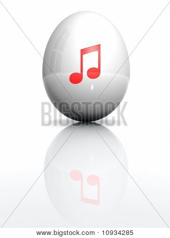 Isolated White Egg With Drawn Musical Note Symbol