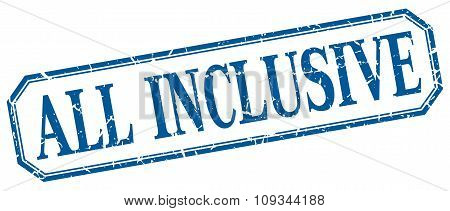 All Inclusive Square Blue Grunge Vintage Isolated Label