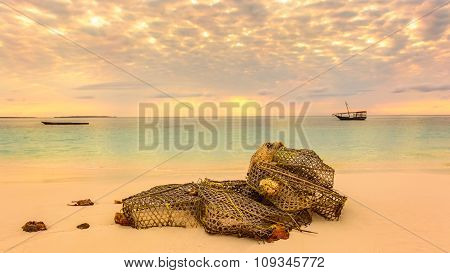 Fishing Net On The Beach