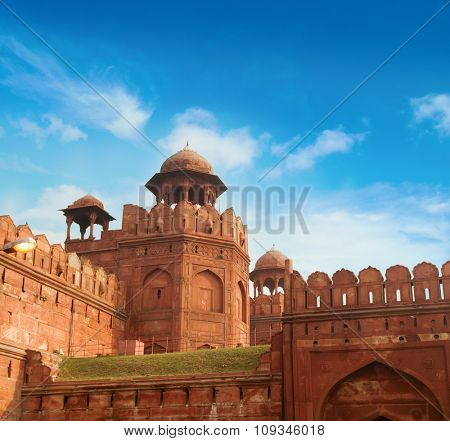 India travel tourism background - Red Fort (Lal Qila) Delhi - World Heritage Site. Delhi, India