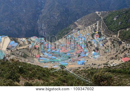 Namche Bazaar High-mountain Village View,capital Of Sherpa People ,sagarmatha National Park,Nepal