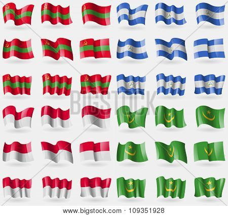 Transnistria, Nicaragua, Manco, Mauritania. Set Of 36 Flags Of The Countries Of The World.