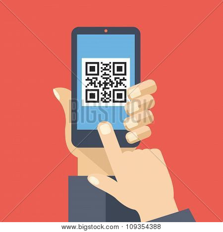QR code reader app on smartphone screen. Scan QR code. Creative flat design vector illustration