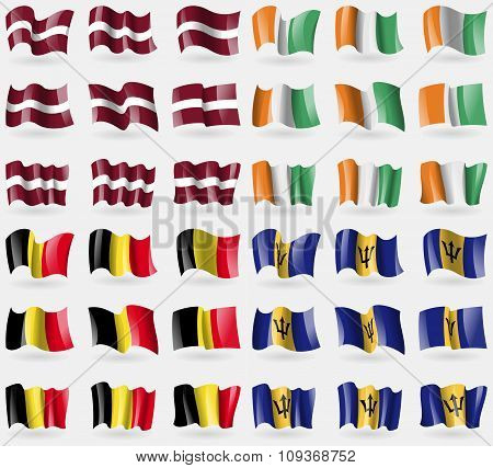 Latvia, Cote Divoire, Belgium, Barbados. Set Of 36 Flags Of The Countries Of The World.