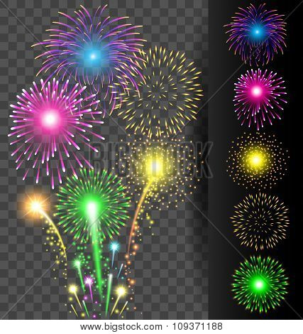 Colorful Firework Set On Translucent Background For Christmas And Happy New Year Or Celebration