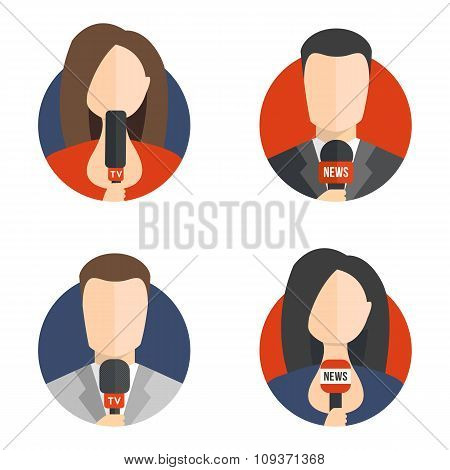 Male and female newsreader avatar icons