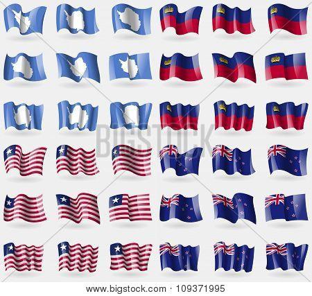 Antarctica, Liechtenstein, Liberia, New Zeland. Set Of 36 Flags Of The Countries Of The World. Vecto