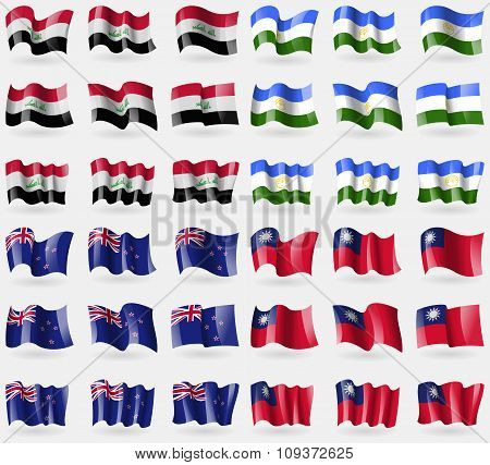 Iraq, Bashkortostan, New Zeland, Taiwan. Set Of 36 Flags Of The Countries Of The World. Vector