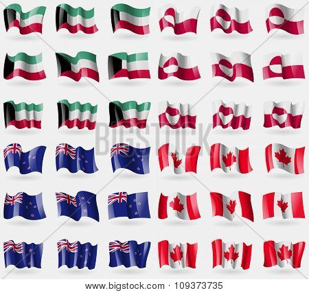 Kuwait, Greenland, New Zeland, Canada. Set Of 36 Flags Of The Countries Of The World. Vector