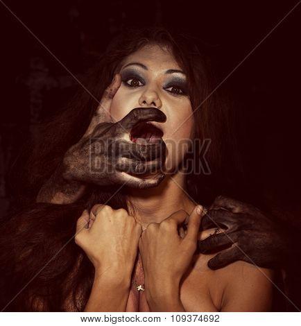 Portrait of a frightened girl scream of horror