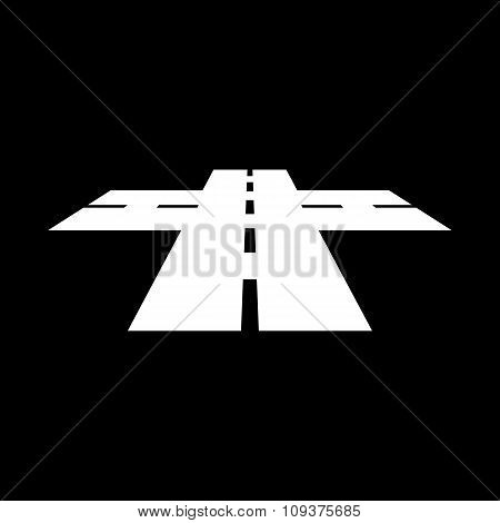 The crossroads icon. Crossway and crossing, intersection, road,  route symbol. Flat Vector illustration poster