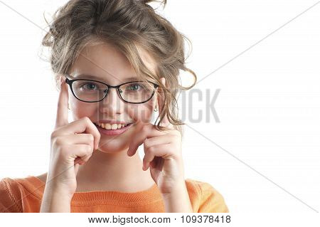 Portrait Of A Cute Girl In Glasses For Vision..