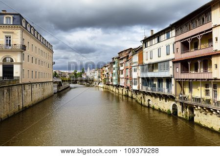 Castres City And Homes Along The Agout River, France