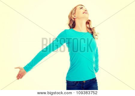 Photo of young woman stretching.
