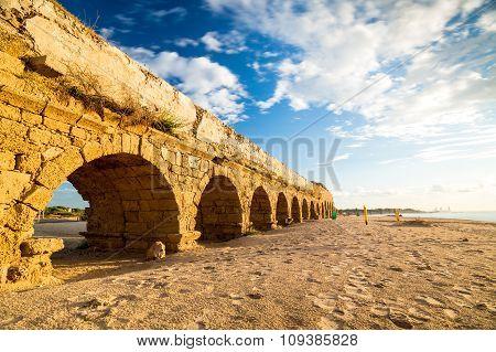 Aqueduct In Cesarea, Israel