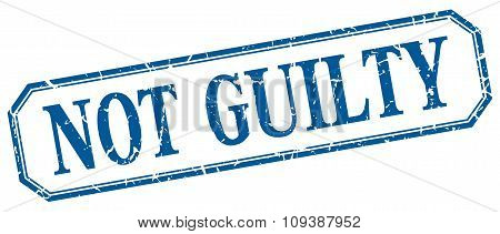 Not Guilty Square Blue Grunge Vintage Isolated Label