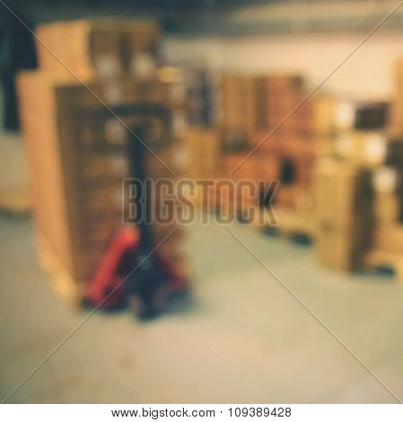 Blurred background warehouse. Abstract blurry warehouse storing