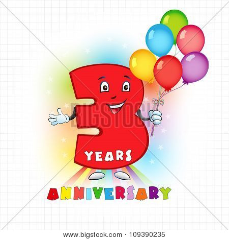 Three years old animated logotype. 3 anniversary funny logo. Kids birthday colored card with personified digit, many bright celebrating congratulating balloons. Entertaining or kid's greetings. poster