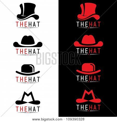 Black and red hat logo vector set design