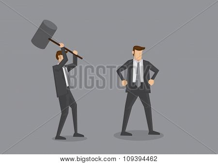 Trying To Kill With Mallet Concept Cartoon Vector Illustration