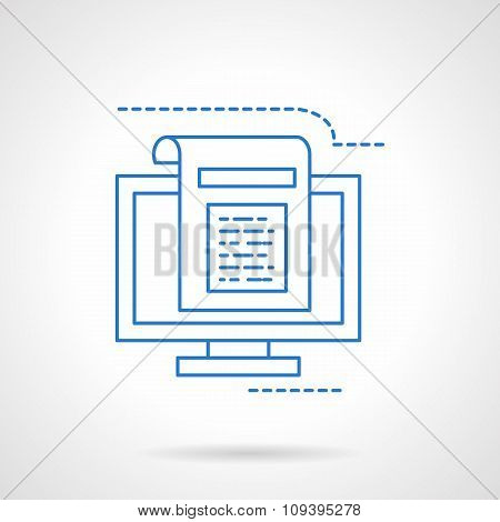 Blogging flat blue line vector icon
