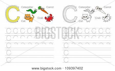 Vector exercise illustrated alphabet. Learn handwriting. Tracing worksheet for letter C. poster