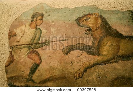 Lion Hunter, Roman Painting