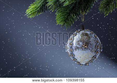 Christmas ball. Luxury christmas ball on christmas tree. Home made Christmas ball hanging