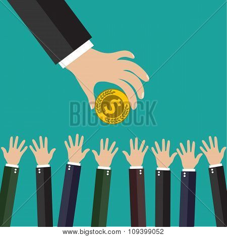 Hand of businessman giving money.