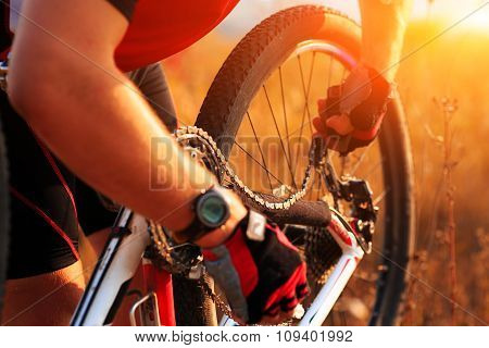 Young man repairing mountain bike in the forest
