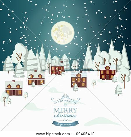 Winter Snow Urban Countryside Landscape City Village Real Estate New Year Christmas Night Background