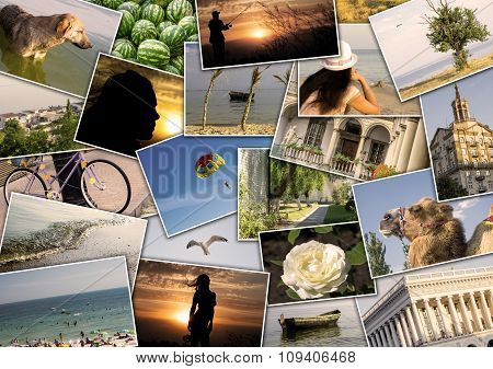 Mosaic Collage Mix Travel In Summer 2015 With Pictures Of Different Places, Landscapes And Objects S