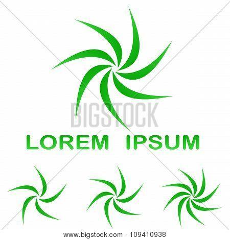 Green swirling enviroment symbol design set
