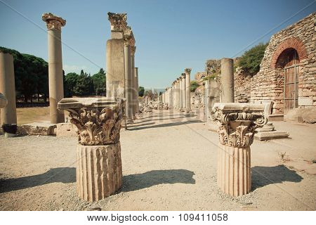 Old Town Area With Broken Columns And Ruined Defensive Walls Of Greek-roman City Ephesus.