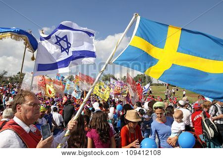 Participants Of The Procession Of Evangelical Christians In Jerusalem During Sukkot